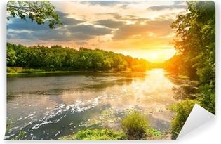 Carta da Parati in Vinile Tramonto sul fiume nella foresta