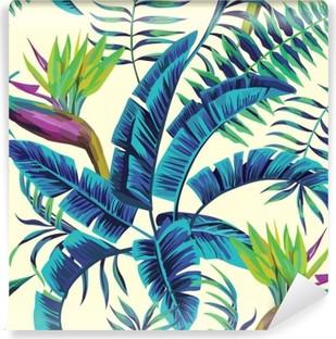 Carta da Parati in Vinile Tropicale pittura esotico di sfondo senza soluzione di continuità