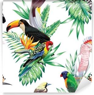 Carta da Parati in Vinile Uccelli tropicali e foglie di palma modello