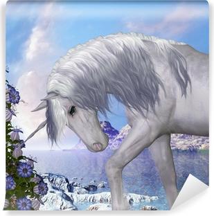 Carta da Parati in Vinile Unicorn e Blue Bell Fiori