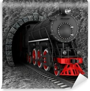 Carta da Parati in Vinile Vecchia locomotiva in galleria