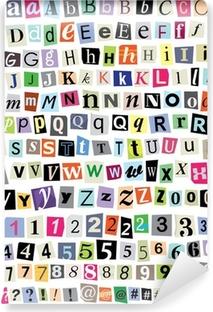 Carta da Parati in Vinile Vector Ransom Note-Cut lettere di carta, numeri, simboli