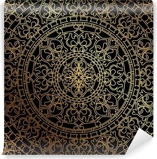 Carta da Parati in Vinile Vector sfondo nero con ornamento di oro orientale