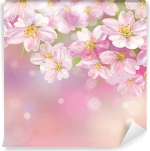 Carta da Parati in Vinile Vettoriale di albero di primavera in fiore su sfondo rosa bokeh.