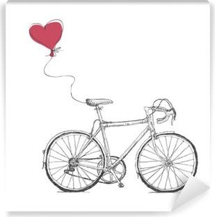 Carta da Parati in Vinile Vintage Valentines Illustrazione con biciclette e cuore Baloon