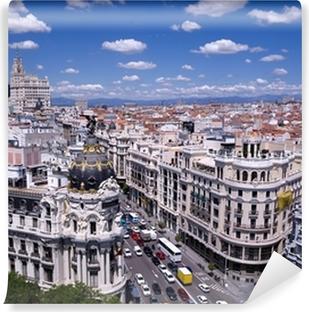 Carta da Parati in Vinile Vista della Gran Via di Madrid (Spagna)