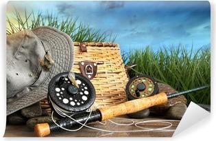 Carta da Parati in Vinile Vola attrezzature per la pesca con il cappello in bacino di legno