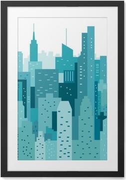 Çerçeveli Baskı Cityscape geometrik vektör çizim. Cityline. Şehir Manzarası