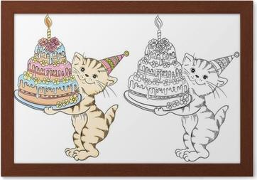 Doğum Günü Pastası Ile Karikatür Kedi Ile Boyama Kitabı Tuval Baskı