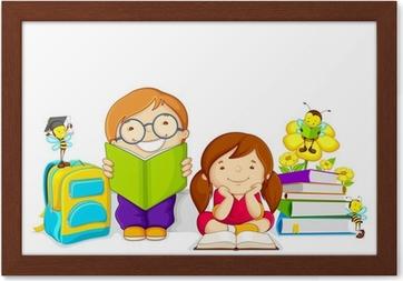 Arı Ile Kitap Okuyan çocuklar Vektör çizim Tuval Baskı Pixers