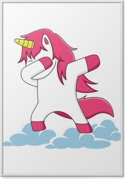 Çerçeveli Poster Bulutlar üzerinde dublaj pembe tek boynuzlu at karakterler