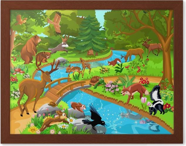 Ormanda Yaşayan Vahşi Hayvanlar çerçeveli Poster Pixers Haydi
