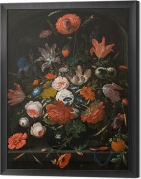 Çerçeveli Tuval Abraham Mignon - Flowers in a Glass Vase