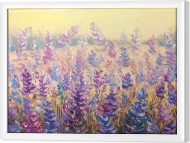 Çerçeveli Tuval Bir orman önünde narin çiçekler alan. lavanta. mavi-mor çiçekler yaz yağlıboya tuval üzerine. resmi vurgular. izlenimcilik sanatı.