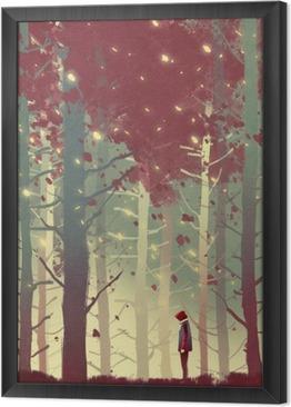 Çerçeveli Tuval Düşen yaprakları ile güzel ormanda duran adam, illüstrasyon boyama