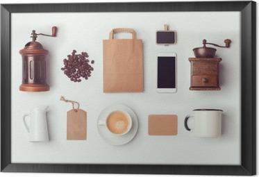 Çerçeveli Tuval Kahve dükkanı kimlik tasarımı marka için şablon hazırlayın. Yukarıdaki görüntüleyin. düz yatıyordu