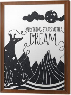 Çerçeveli Tuval Köpek aya bakarak sevimli romantik vektör çizim. Her şey bir rüya ile başlar. Yıldızlar, dağlar ve bulutlar.