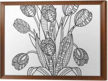 Laleler çiçekler Süs Siyah Ve Beyaz Boyama Duvar Resmi Pixers
