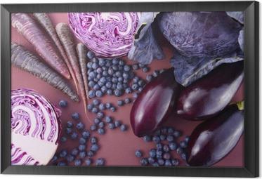 Çerçeveli Tuval Mor meyve ve sebzeler