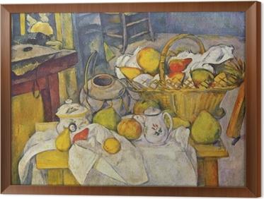 Çerçeveli Tuval Paul Cézanne - Sepeti ile Natürmort