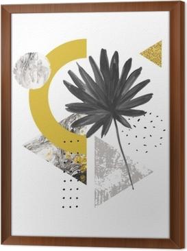 Çerçeveli Tuval Soyut yaz geometrik şekiller, egzotik yaprak. mermer, grunge dokular, karalamalar, suluboya fan palmiye yaprağı ile dolu üçgenler. el modern minimal tarzda geometrik sanat illüstrasyon boyalı