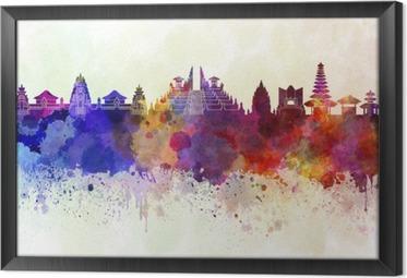 Çerçeveli Tuval Sulu boya arka Bali silueti