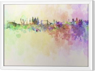 Çerçeveli Tuval Suluboya arka planda Londra silueti