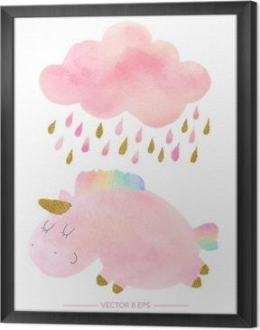 Çerçeveli Tuval Suluboya boynuzlu at ve yağmur bulutu