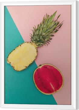 Çerçeveli Tuval Tropik Mix. Ananas ve Karpuz. minimal Stil