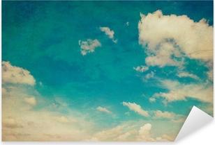 Çıkartması Pixerstick Alanı ile mavi gökyüzü ve bulutlar arka plan doku duvar