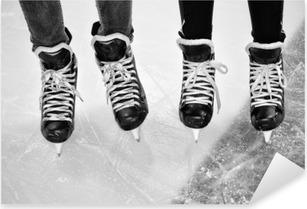 Çıkartması Pixerstick Buz hokeyi bacakların iki çift siyah ve beyaz paten