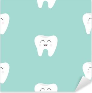 Çıkartması Pixerstick Dikişsiz Desen Diş sağlığı. Sevimli komik karikatür gülümseyen karakter. Ağız diş hijyeni. Çocuk diş bakımı. Bebek doku. Düz tasarım. Mavi arka plan.