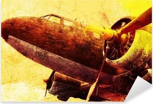 Çıkartması Pixerstick Grunge eski askeri uçak, arka plan