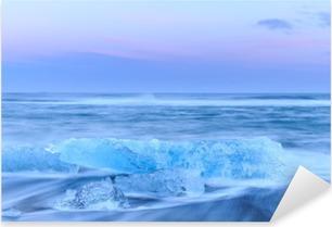Çıkartması Pixerstick İzlanda kristal siyah plajda buzdağlarının