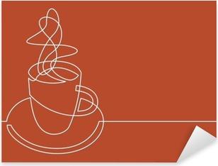 Çıkartması Pixerstick Kahve fincan sürekli çizgi çizme