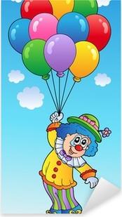 Karikatur Balonlarla Ucan Palyaco Cerceveli Poster Pixers