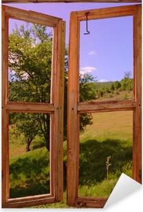 Çıkartması Pixerstick Manzara pencereden görülen