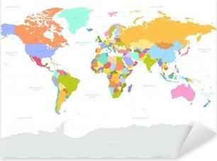 Çıkartması Pixerstick Merhaba Detay renkli Vektör Siyasi Dünya Haritası illüstrasyon