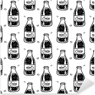 Çıkartması Pixerstick Seamless modeli el çekilmiş kola şişesi. siyah doodle çizin. işareti simgesi. dekorasyon öğesi. Beyaz arka plan üzerinde izole düz tasarım. vektör çizim