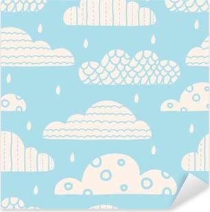 Çıkartması Pixerstick Sevimli bulutlar. Vektör sorunsuz desen.