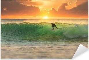 Çıkartması Pixerstick Sunrise Surfer Sörf