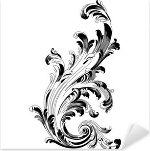 Çıkartması Pixerstick Vintage Barok süsleme Retro desen antika stili akant. dekoratif tasarım öğesi telkari hat vektör. - hisse senedi vektör