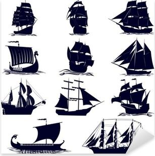 Çıkartması Pixerstick Yelkenli gemi kontür