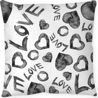 """Cojín decorativo Acuarela de patrones sin fisuras con un fondo de corazón, inscripción """"amor"""", elementos. Ilustración de arte para su diseño. sobre un fondo blanco"""
