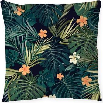 Cojín decorativo Brillante colorido transparente fondo tropical con hojas y