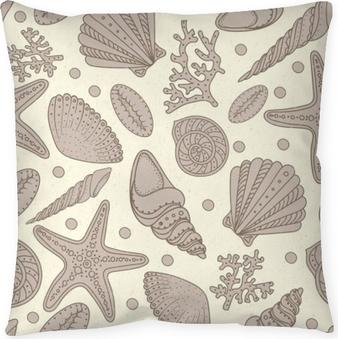 Cojín decorativo Conchas de mar, estrellas de mar y corales fondo transparente. vintage sin fisuras patrón lamentable para textil, impresión, fondo de pantalla. patrón de vida marina