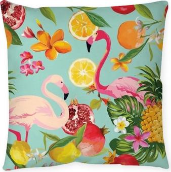 Cojín decorativo Frutas tropicales sin fisuras y patrón de flamenco en vector. Fondo de Granada, limón, flores de naranja, hojas y frutas.