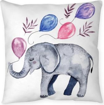 Cojín decorativo Linda ilustración con bebé elefante y globos