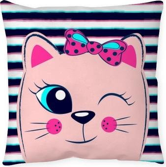 Cojín decorativo Lindo gatito rosa con lazo rosa sobre fondo de rayas. estampado de niña con gatito para camiseta