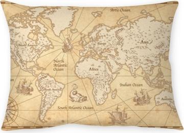 Cojín decorativo Mapa del mundo ilustrado vintage